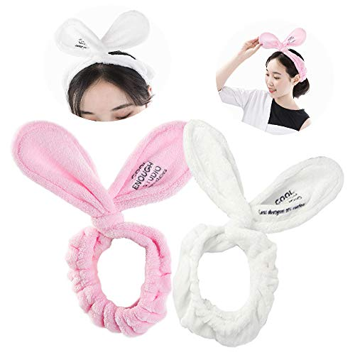 2 Stück Spa Stirnband für Make-up Gesicht – weiche Mikrofaser-Frottee-Kopfwickel, süße Hasenohr-Form, verstellbare Handtücher für Frauen (Pink, Weiß)