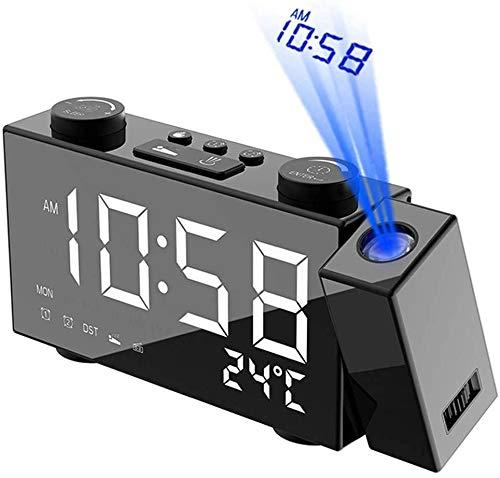 Despertador Proyector,Radio Reloj FM,LCD Radio inalámbrico Estación meteorológica Multifuncional Reloj,Reloj Proyección Digital con Alarmas Dobles,Reloj Mesita de Noche, Reloj Proyector Techo