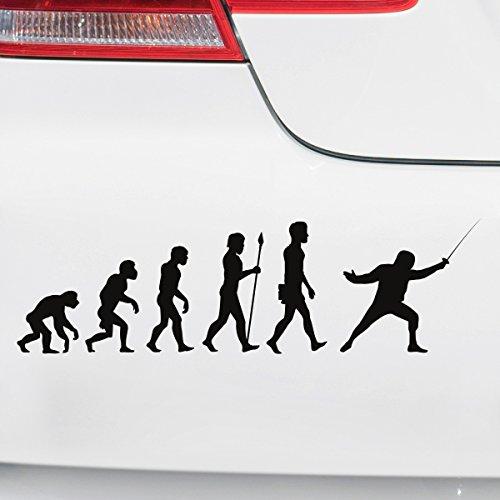 Motoking Autoaufkleber - Lustige Sprüche & Motive für Ihr Auto - Evolution Fechten - 25 x 7,3 cm - Schwefelgelb Seidenmatt