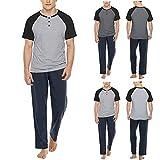 OVERMAL Herren Lange Pyjama Schlafhose und Shirt kurz-arm Schlafanzug Nachthemd Herren Schlafanzug mit Bündchen aus Baumwolle Zweiteiliger Pyjama Kurz Shirt & Schlafanzughose