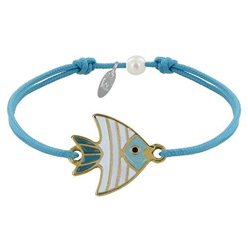 Schmuck Les Poulettes - Armband Glieder Messing Fisch Medaille Weiß und Türkis Emailliert - Turquoise