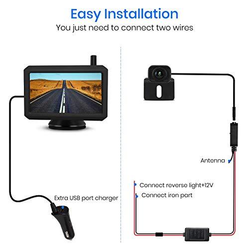 """AUTO-VOX W7 5"""" LCD Kabellos Digital Rückfahrkamera Set, mit eingebautem Funksender, Wireless Einparkhilfe, Wasserdicht IP68 Nachtsicht"""