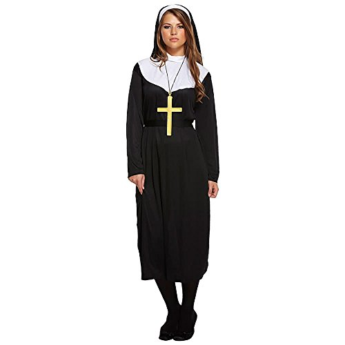 NET TOYS Nonnenkostüm Nonnen Gewand Schwarz M 40/42 Nonnenkleid Nonnengewand Nonne Gewand Kirche Schwester Damenkostüm Ordensschwester