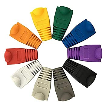 Accessbuy 200Pcs Cat6 Cat5e Rj45 Ethernet Network Cable Strain Relief Boot Cable Connector Plug Boot Cover Mixed Color  White Gray red Black Purple Blue Green Yellow Orange Dark Gray