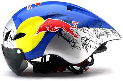 Adjustable size Cycling helmet mountain bike bicycle goggles mountain bike helmet helmet pneumatic cycling bicycle-Red Bull color_One Size Uptodate