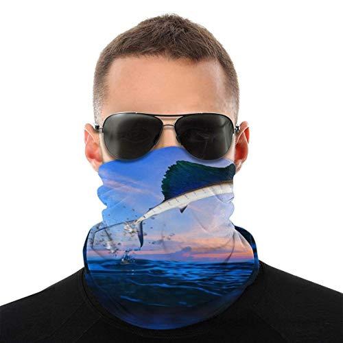 BDGAjdka Sailfish Flying Over Blue Sea Ocean Face Face Scarf Seamless Bandanas Multifunctional Headwear For Men Women