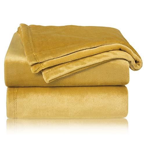 Bedsure Manta Sofa Grande Invierno - Manta Cama 90 de Franela Extra Suave, Mantas 150x200 cm Cubre Sofas, Amarillo