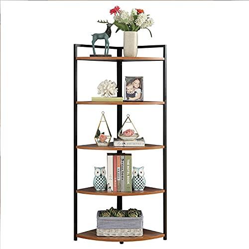QINJIE 5 Tier Corner Shelf, Corner Standing Shelf for Bathroom, Bathroom Shelves Freestanding for Small Spaces for Living Room, Home Office, Kitchen, Small Space