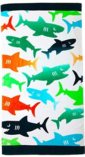 """YIFONTIN toalla de playa para niños de algodón suave manta de rizo toalla para viajes, playa, natación, baño, camping y picnic, Victorian, Tiburón colorido, 24"""" x 48"""", 1"""