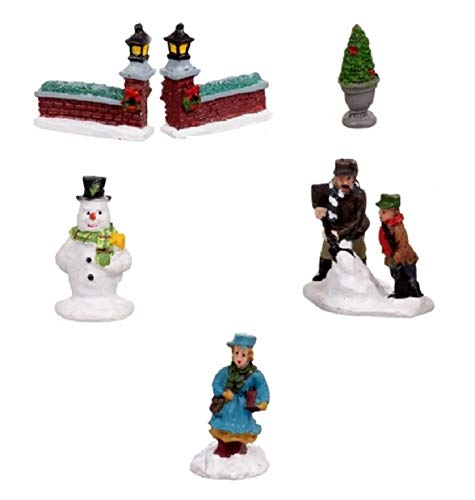 Cobblestone Corners 6 Piece Collection Miniature Christmas Village - Resin People and Accessories