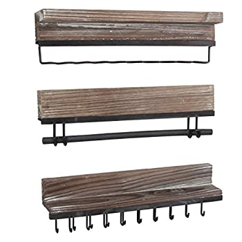 J JACKCUBE DESIGN Rustic Wood 3-Piece Wall Mounted Jewelry Organizer Set Hanging Necklace Holder Storage Rack for Accessory Earrings Bracelet Bow Headband - MK591A