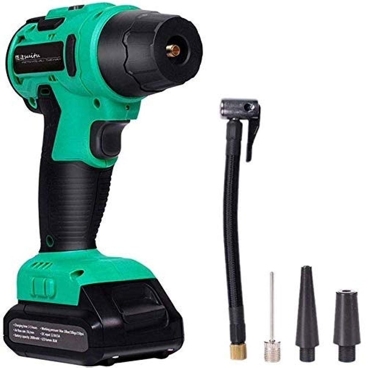 増加すると遊ぶゲートカーワイヤレスエアーポンプ、ポータブルハンドヘルドスマート圧力測定デジタル自動車ポンプ、LEDバックライトデジタルディスプレイ,グリーン