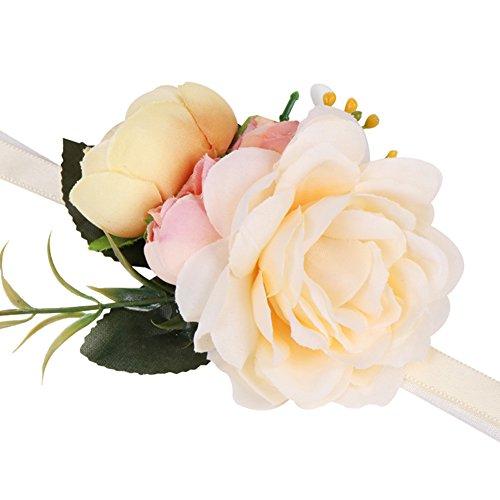Westeng Romántico Pulsera de Flores para Boda Decoración de Damas de Honor Rose Ramillete de Flores Artificiales para Mujer Novia Fiesta de la Boda Decoración Size 7cm (Beige)