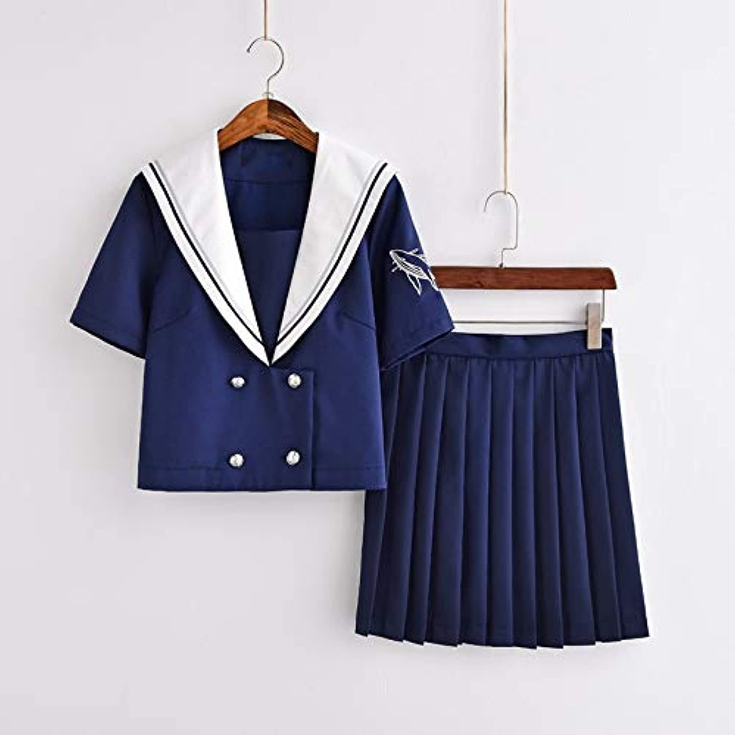 WHFDBZQ Short Sleeve bluee School Uniform Double Breasted Suit Young Girl Sweet Mini Pleated Skirts