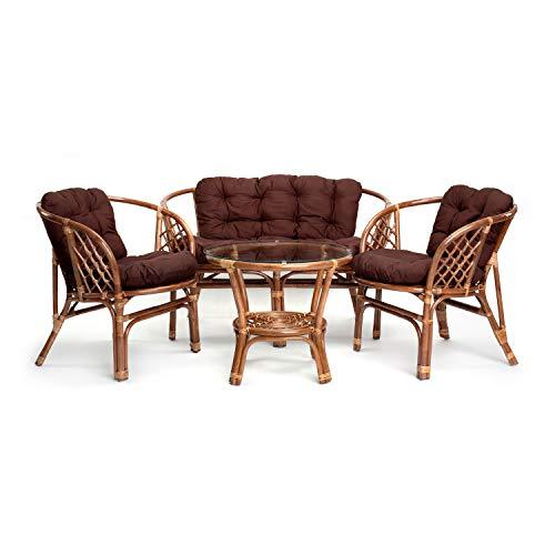 Rattan Gartenmöbel Set - Balkon Möbel - Lounge Möbel Terrasse - Ragnarök Gartenmöbel - Tisch Set - Balkonmöbel Set mit Couch (Hellbraun - Braun)