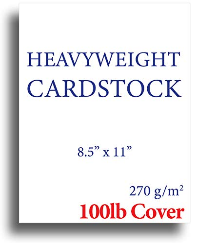 Extra Thick Cardstock - 100lb Cover (270gsm) - Blank White 8.5 x 11 - Heavyweight Printer Paper for Inkjet/Laser - 50 Sheets Pack