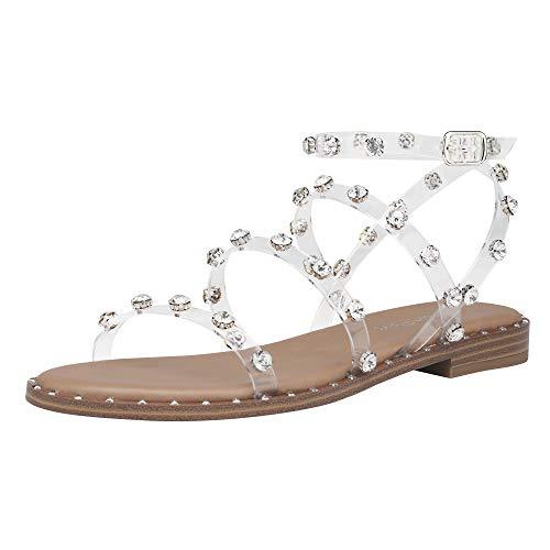 DREAM PAIRS Women's Dfs211 Gladiator Cute Summer Flat Sandals,Transparent TPU Clear,Size9.5