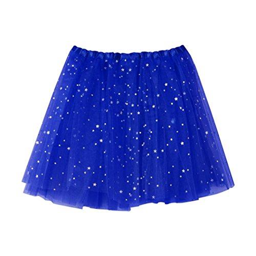 QinMM Falda Corta de Plisada de Mujer Falda de Baile de Estrella de tutú de Adulto