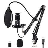 Microfono USB Nyuevo, Microfono a Condensatore da Studio 192kHz/24Bit con Riduzione del Ru...
