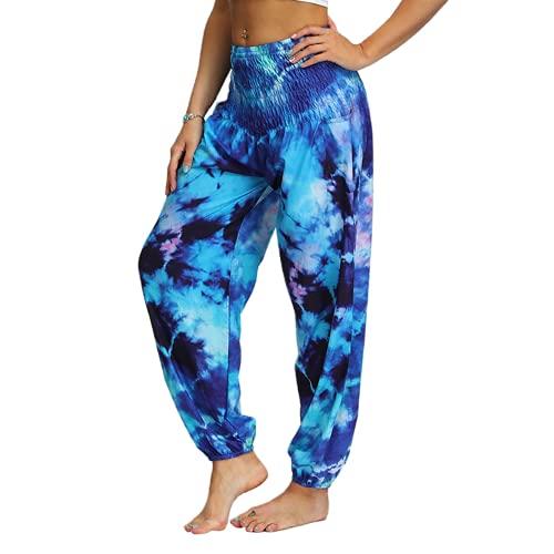 QTJY Pantalones de Yoga Casuales para Mujer, Pantalones de harén Hippie Sueltos de Cintura Alta, Pantalones de Aladdin Bohemios, Pantalones Deportivos al Aire Libre B S