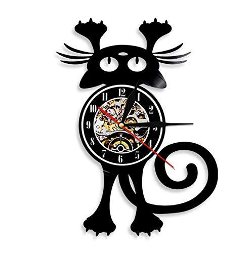 Vinilo de Pared Reloj Reloj de Pared con Disco de Vinilo Vintage de Gato Reloj de Pared Moderno con Animales decoración del hogar Regalo Hecho a Mano para Amante de los Gatos 12'