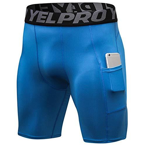 Bliefescher Herren Sportswear Unterhose kurz Sport Leggings Schnell Trocken Yoga Workout Laufen Fußball Fitness Strumpfhose (M, blau mit Taschen)