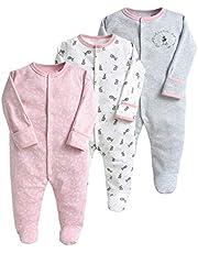 Bebé Niños Niñas Mono de Manga Larga Mameluco Body Algodón Peleles Comodo Pijama Regalo de Recien Nacido, Pack de 3