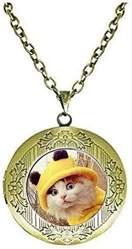 Cute Cat Locket Necklace Yellow Clothes Cat Art Picture Jewelry