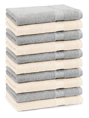 Betz Lot de 10 Serviettes débarbouillettes lavettes Taille 30x30 cm 100% Coton Premium Couleur Gris argenté et Beige
