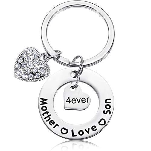 Llaveros de regalo para el día de la madre, regalo de cumpleaños para mamá de hijo, dije de corazón con diamantes de imitación, llavero personalizado