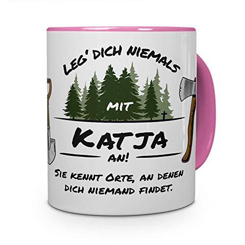 printplanet Tasse - Leg Dich Nicht mit Katja an - Namenstasse, Kaffeebecher, Mug, Becher, Kaffeetasse - Farbe Rosa
