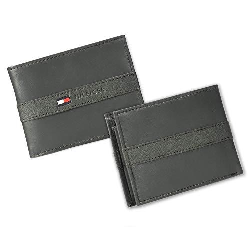 Tommy Hilfiger Herren Geldbörse aus Leder – schmales Faltfach mit 6 Kreditkartenfächern und abnehmbarem Ausweisfenster - grau - Einheitsgröße