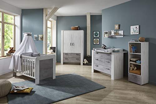 möbel-direkt Babyzimmer Lola in White Washed Wood und Absetzung Stone 5 teiliges Komplettset mit Schrank, Babybett mit Umbauseiten, Wickelkommode und Standregal