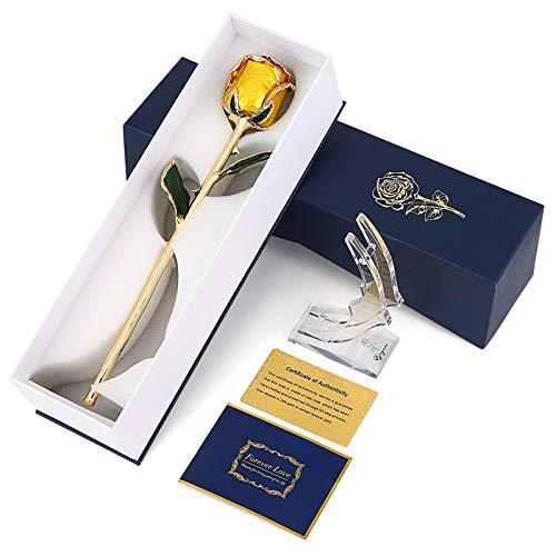 Yinuoday Gold Getauchte Rose 24 Karat Vergoldete Rose mit Korrosionsbeständigkeit des Rosenständers Und für Immer EIN Zeichen für Immer