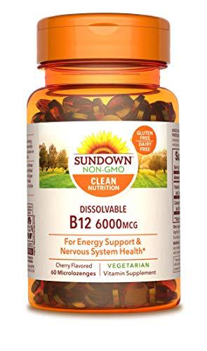 Sundown Sublingual Vitamin B-12 6000 mcg, 60 Tablets Cherry Flavor