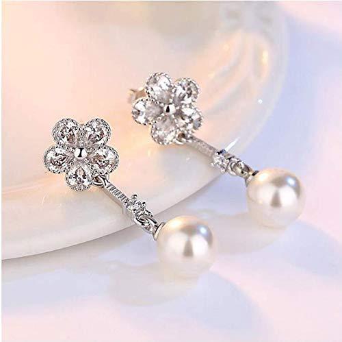 Sterling Silber Ohrringe Kristall Pflaume Eis Blume Zirkon Simulierte Perle Tropfen Earrongs Für Frauen 925