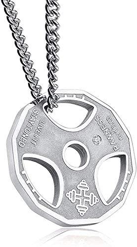 CCXXYANG Co.,ltd Collar Hombres S Fitness Collar Placa De Peso Barbell Dumbbell Colgante Levantamiento De Pesas Ejercicio De Culturismo-Silver Rhinestone 60Cm Collar Colgante para Mujeres Hombres