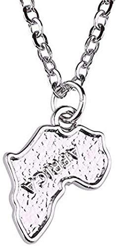 CCXXYANG Co.,ltd Collar Collar con Colgante De Mapa De África Dije Plateado Antiguo con Cadena De Eslabones Largos para Mujeres/Hombres Collares De Joyería Etíope