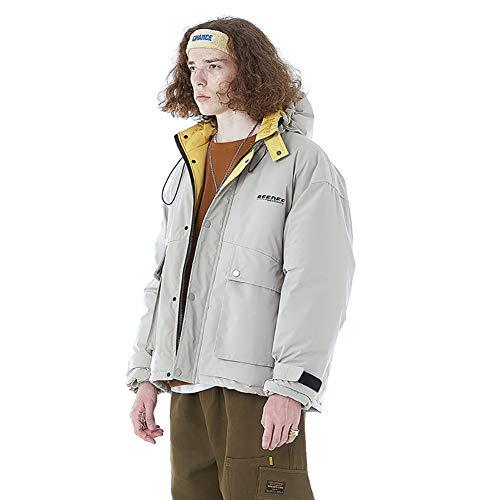 Abrigo de plumas para hombre, con capucha, cremallera, bolsillos grandes, apto para senderismo de...