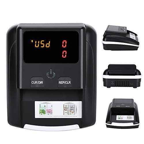 14.5x12.8cm Banknote Bill Detector with LED Display for USD EUR Counterfeit Detection, 100‑240V(US Plug)