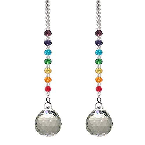 Crystal Prism Ball Tijdens het hangen, regenboogkralen strengen, design ornament voor boom jaden raam kerst, 2 stuks 3x21cm(1x8inch) helder