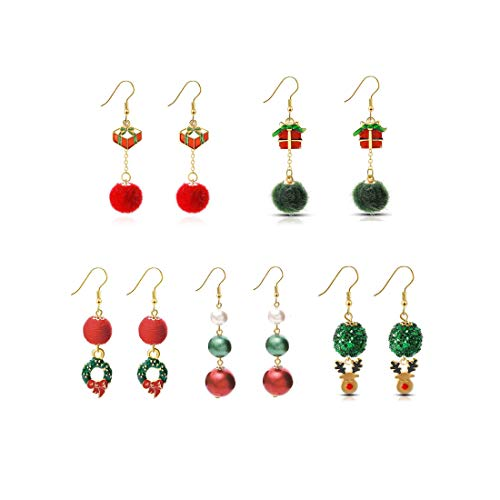 Christmas Earrings Set for Women, 5 Pairs Fashionable Xmas Dangle Earrings Santa Gift Jewellery for Women Girls (B)
