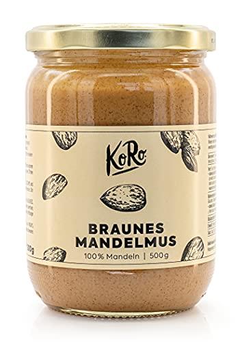 KoRo - Crema de almendras marrón 500g - 100% almendras sin azúcar ni sal - Crema de almendras sin añadidos