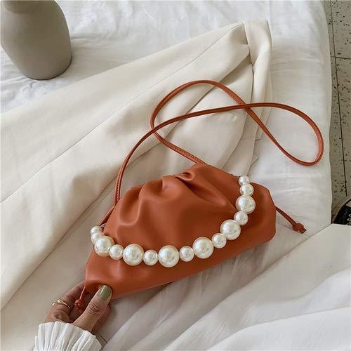 YLH Perlas de la Cadena de la PU de Cuero púrpura de la Nube Bolsa for Las Mujeres 2020 Verano axila Bag Lady Hombro Bolsos Mujer Bolsa de Viaje de la Mano (Color : Orange, Size : 25cm x13cm x9cm)