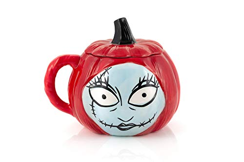Nightmare Before Christmas Sally Pumpkin-Shaped Sculpted 26 Oz Ceramic Mug With Lid & Handle - Fun Novelty Gift Idea Inspired by Tim Burton's Creepy Stop-Motion Animated Musical Fantasy Film