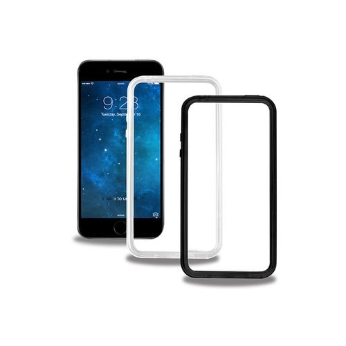 NOVAGO Lotto di 2 Bumper per iPhone 8, iPhone 7 del Silicone, Contorno del Telefono (Nero + Trasparente)