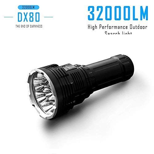 LXH/IMALENT DX80 8PCS Cree XHP70 32000Lumen 50000Hours Lifespan Waterproof Rechargeable LED Flashlight/Searchlight, Car/Home Charger,For Emergency, Travel,Built-in 8PCS 3000mAh Battery