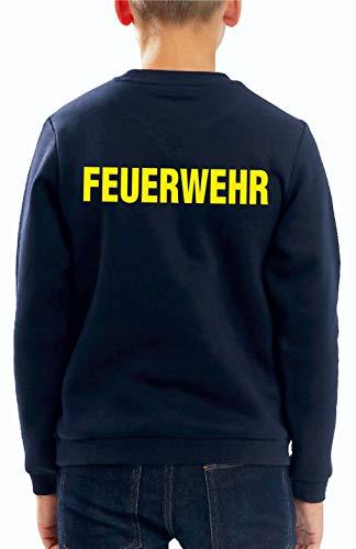 Feuer1 Sweat-shirt pour enfant Marine, pompiers (deux côtés) Jaune fluo 152 cm bleu marine