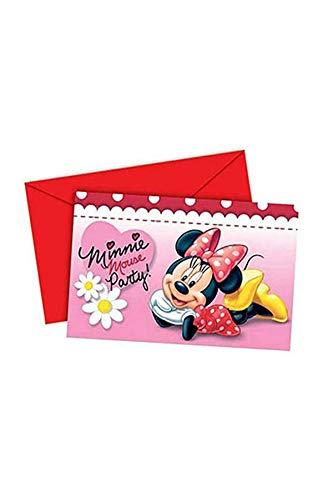 6 Einladungskarten Minnie Maus