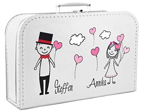 Livingstyle & Wanddesign Personalisierter Koffer zur Hochzeit in weiß mit Pärchen Luftballons